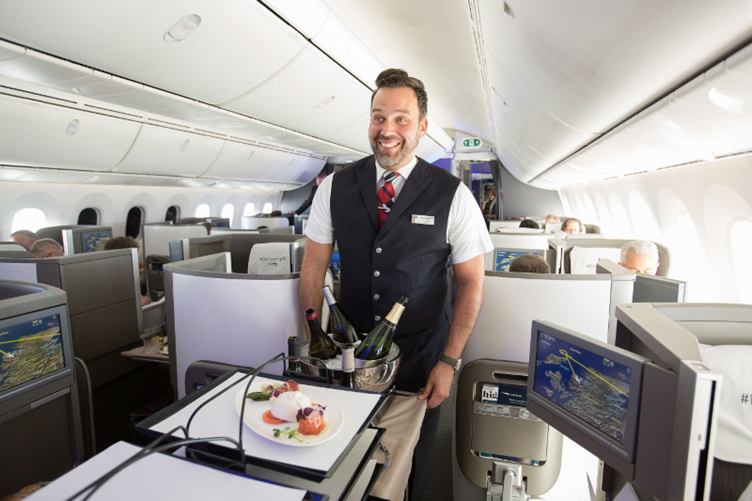 LONDON, UK: New Club World products onboard a special flight on a 787-9, which also marked the opening of First Wing, London Gatwick and Boston Lounges with media and social media influencers between London Gatwick and Heathrow on 05 April 2017(Picture
