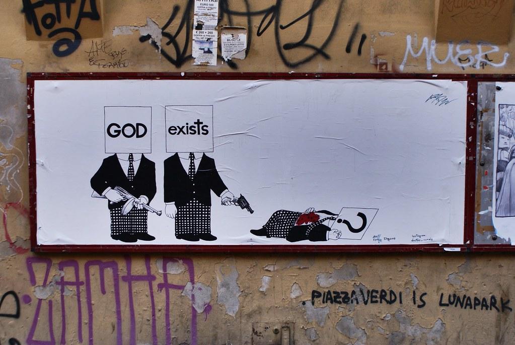 La religion pour ceux qui aurait un doute dans le quartier étudiant de Bologne.