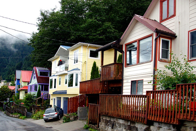 Back  streets of Juneau Alaska.