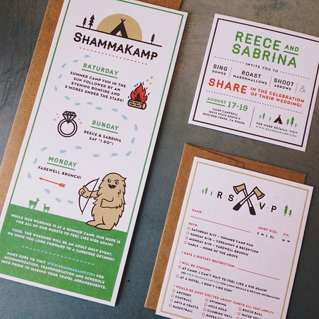 A camp-themed wedding invitation. So happy I was able to b… | Flickr