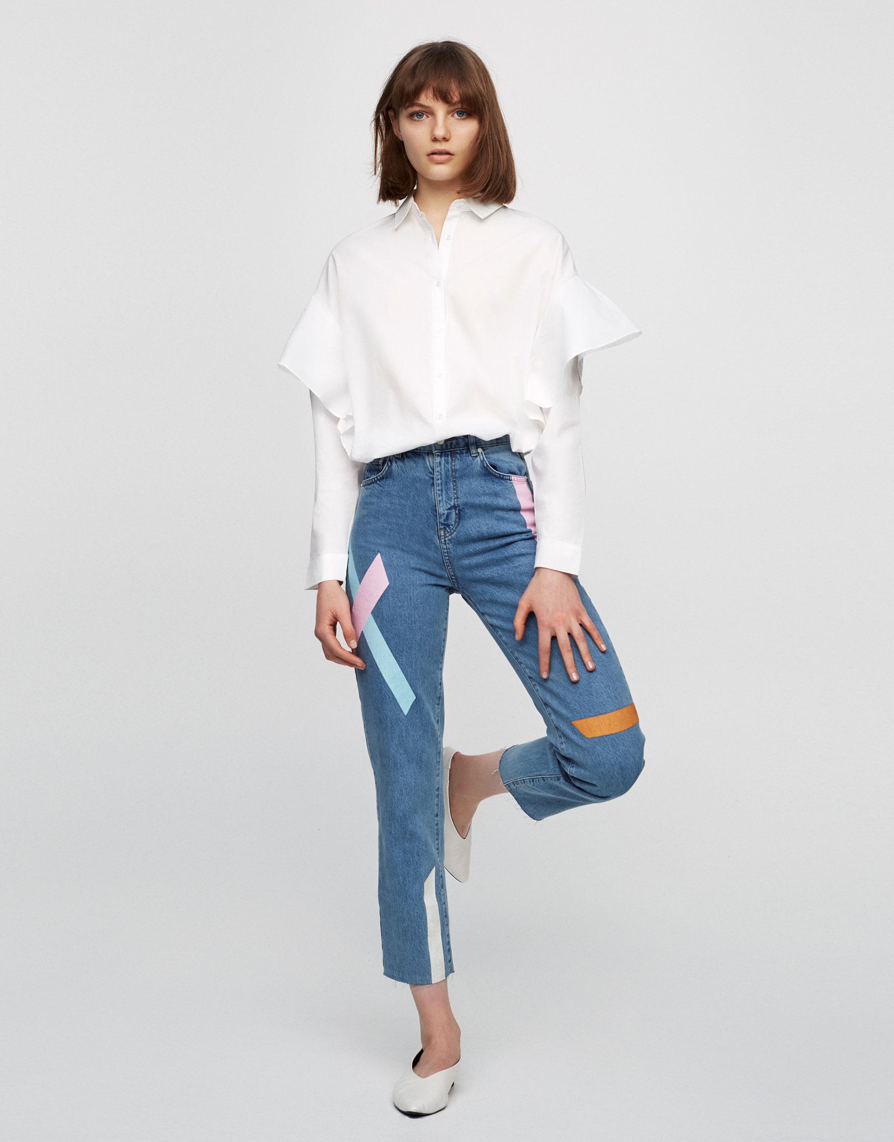 blusa blanca volantes Pull&Bear