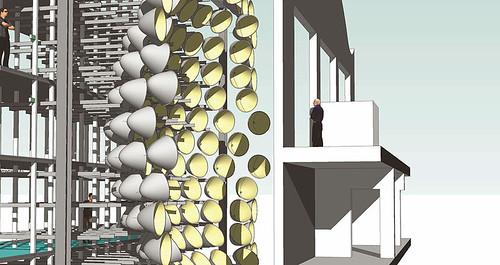 07.09.2015, Strahler mit Bühne in 3D1 Seitenansicht mit Versuchsräumen