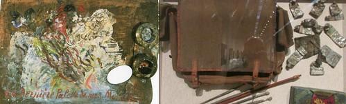 モーリス・ユトリロが使っていた最後のパレット(個人蔵、パリ)と愛用の鞄・筆・絵の具(個人蔵、パリ)