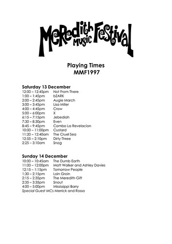 MMF1997 Playing Times | by Aunty Meredith