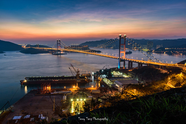Magic hour of Tsing Ma Bridge