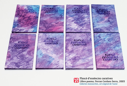 Cobertes del llibre poema Flascó d'essències curatives, de Ferran Cerdans Serra