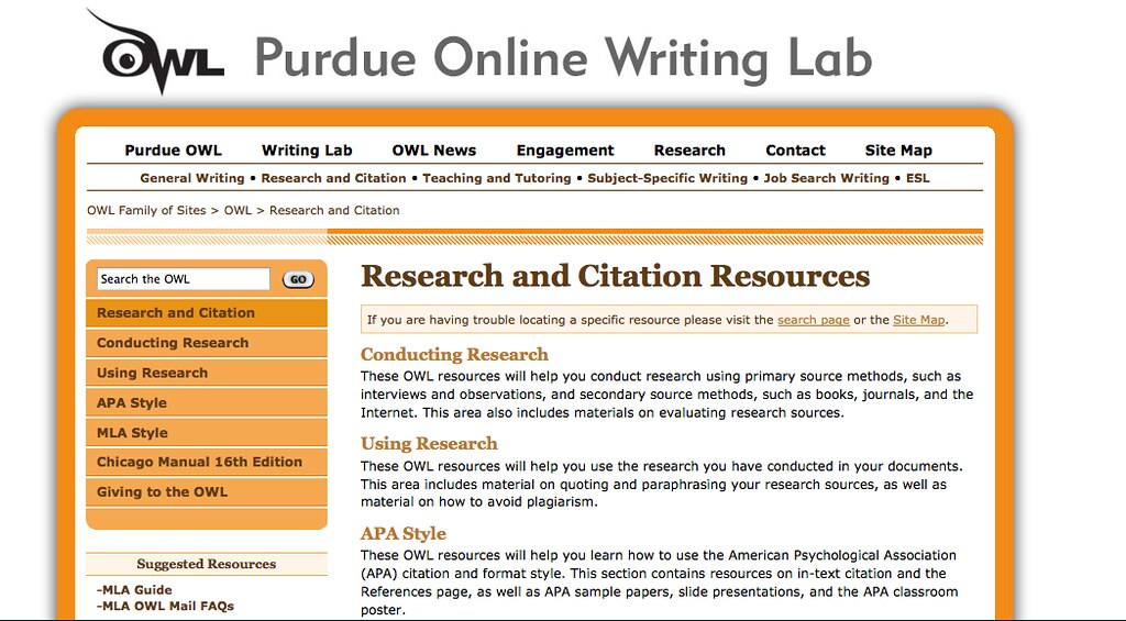 purdue online writing lab owl table of contents