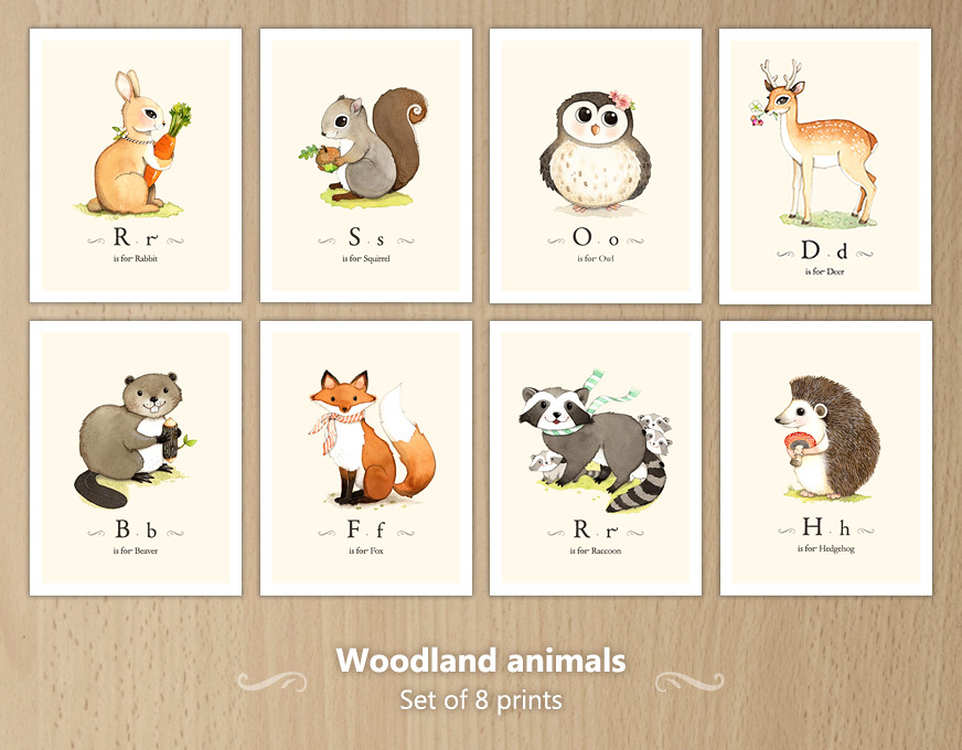 Animal Wall Art woodland animals wall art set | find a complete set of 8 woo… | flickr
