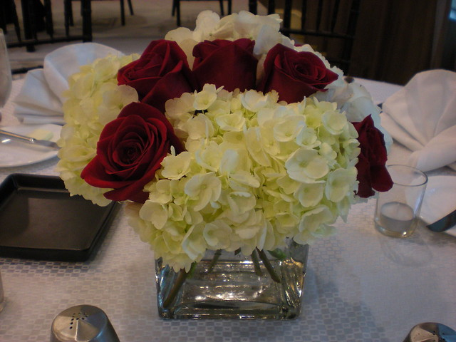 White hydrangea and red rose centerpiece flickr photo