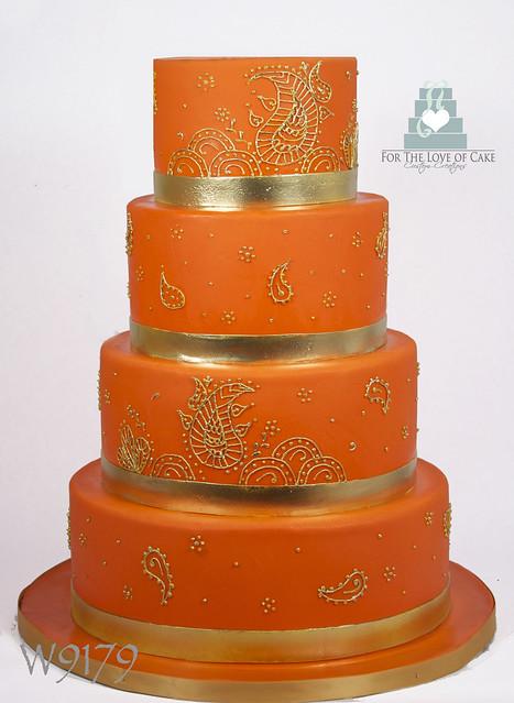 W9179 Orange Gold Henna Indian Wedding Cake Toronto