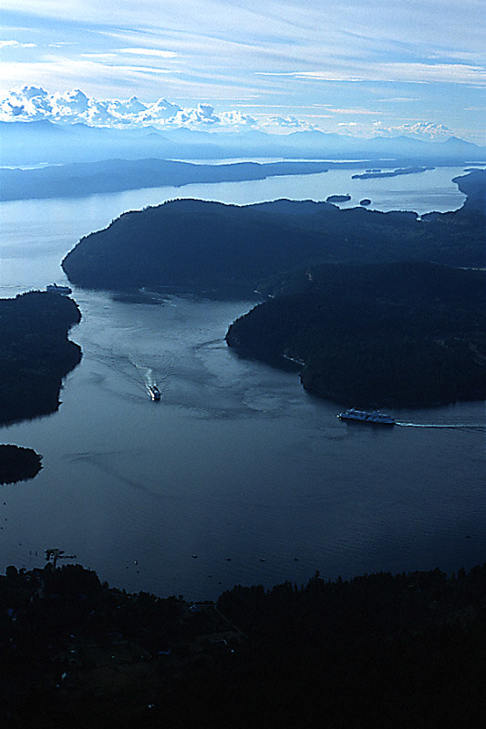 Bc Ferries In Active Pass Between Mayne Island And Galian