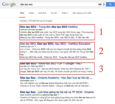 Title từ khóa đào tạo SEO tại Việt Nam
