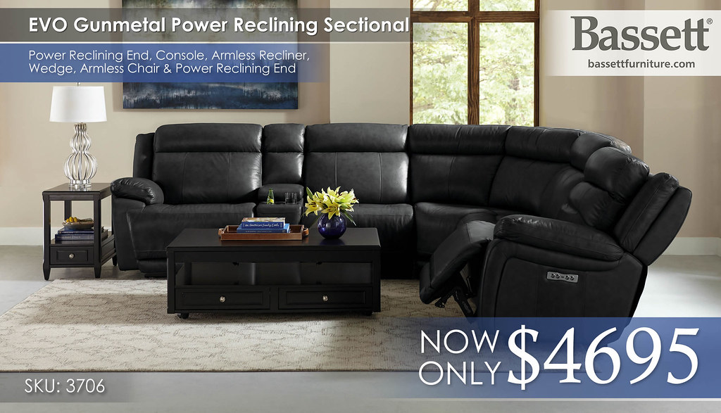 EVO Gunmetal Power Sectional (1 Armless Recliner) 3706_EVO_SECT_RS_B