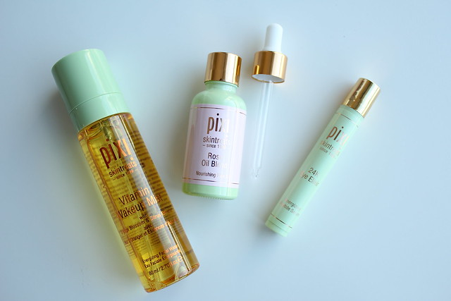 Pixi Beauty Rose Oil Blend, Vitamin Wake Up Mist, and 24K Eye Elixir review