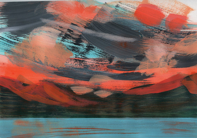 Copper mountain sunset series, study. Acrylic on paper.