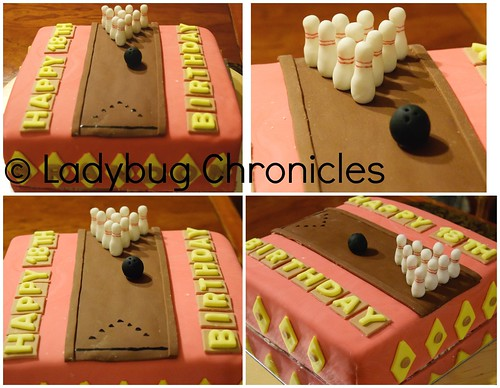 bowling cake collage