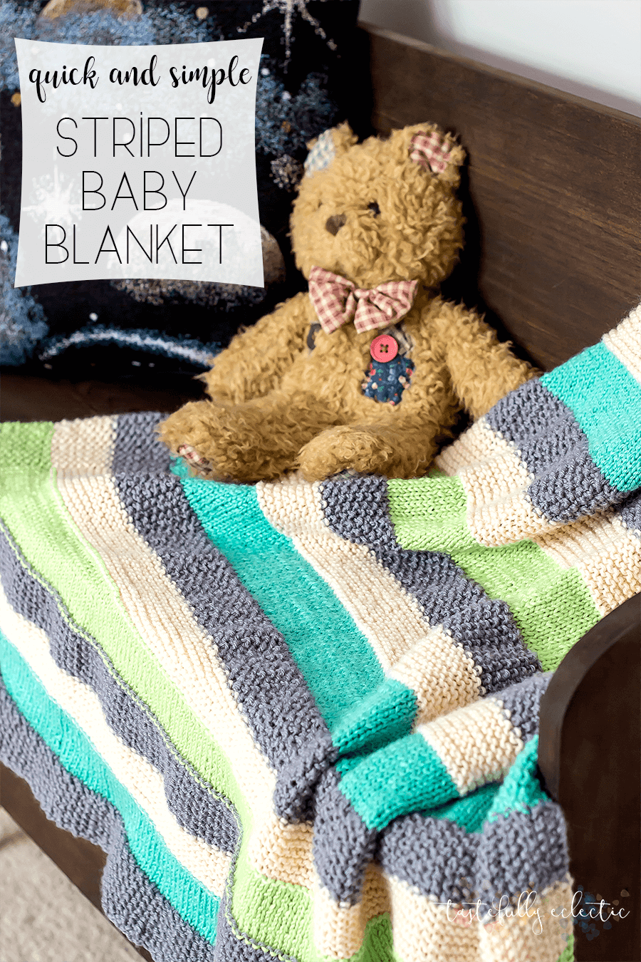 Quick And Simple Striped Knitted Baby Blanket Tastefully