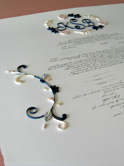 Ketubah with Quilled Monogram