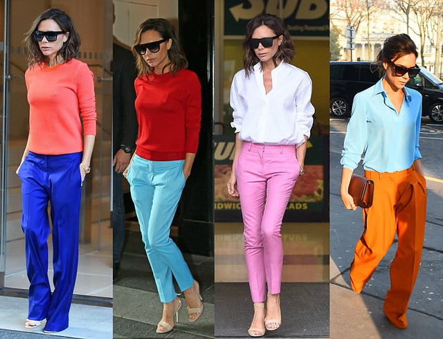 Victoria-Beckham-wearing-colourful-pants-blue-pants-pink-trousers-orange-pants