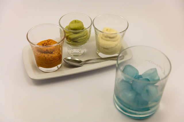 Trio of purees with Blue Ice Gin N Tonic