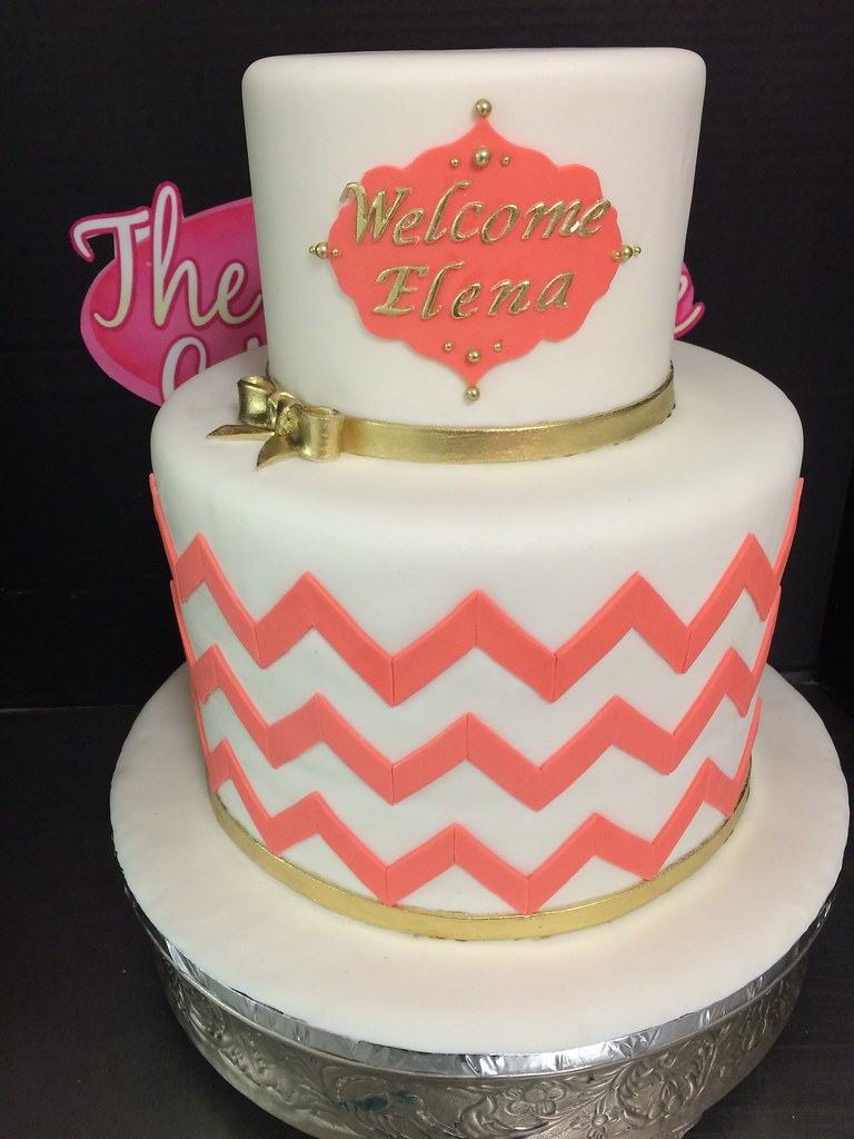 Coral Chevron Baby Shower Cake Exclusive Cake Shop Flickr