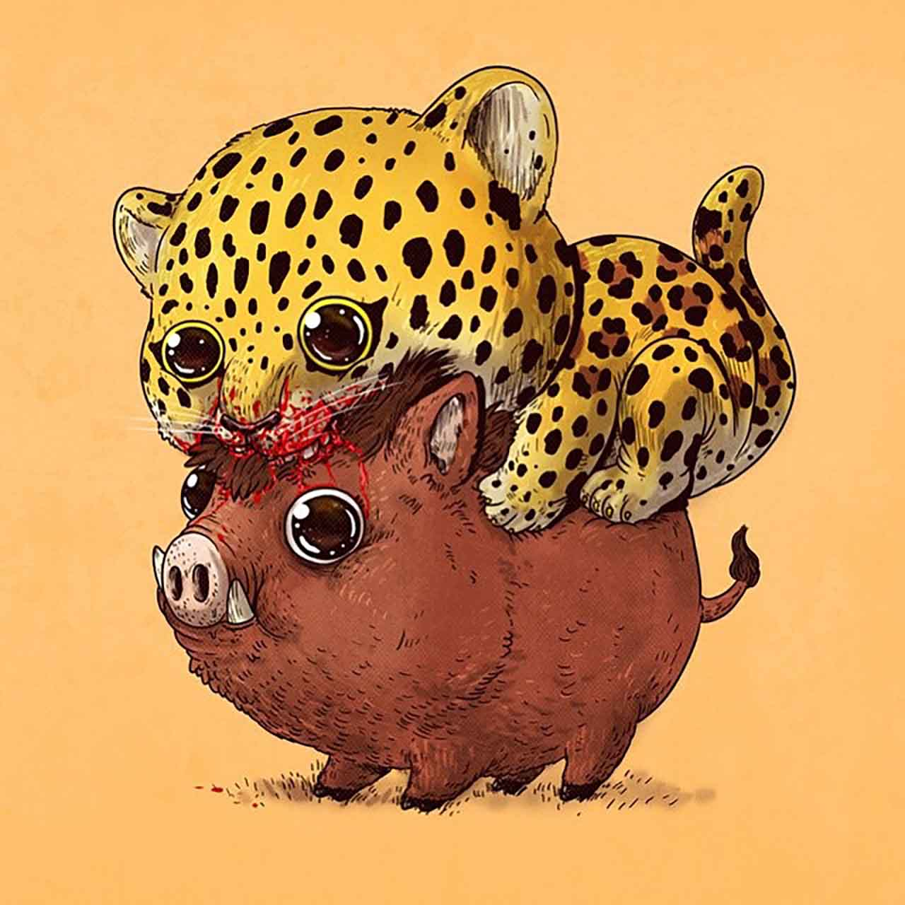 "Artist Creates Extremely Adorable ""Predator & Prey"" Illustrations #18: Leopard & Boar"