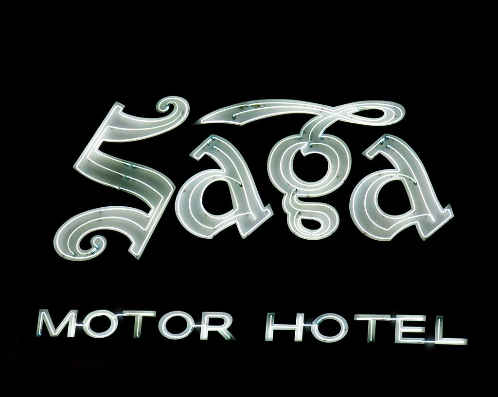 The neon sign at the saga motor hotel in pasadena califor for Saga motor hotel pasadena ca