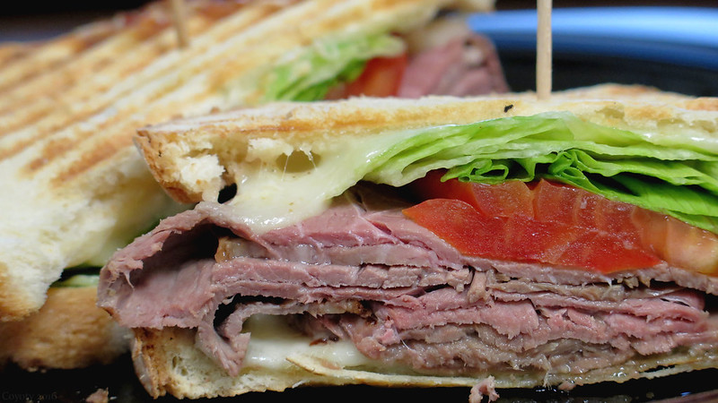 Roast beef panini with provolone and garlic mayo