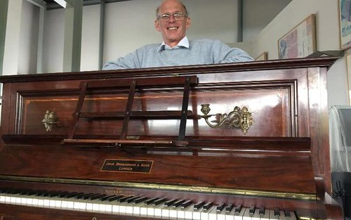 Gold coin hoard piano with finder Martin Backhouse