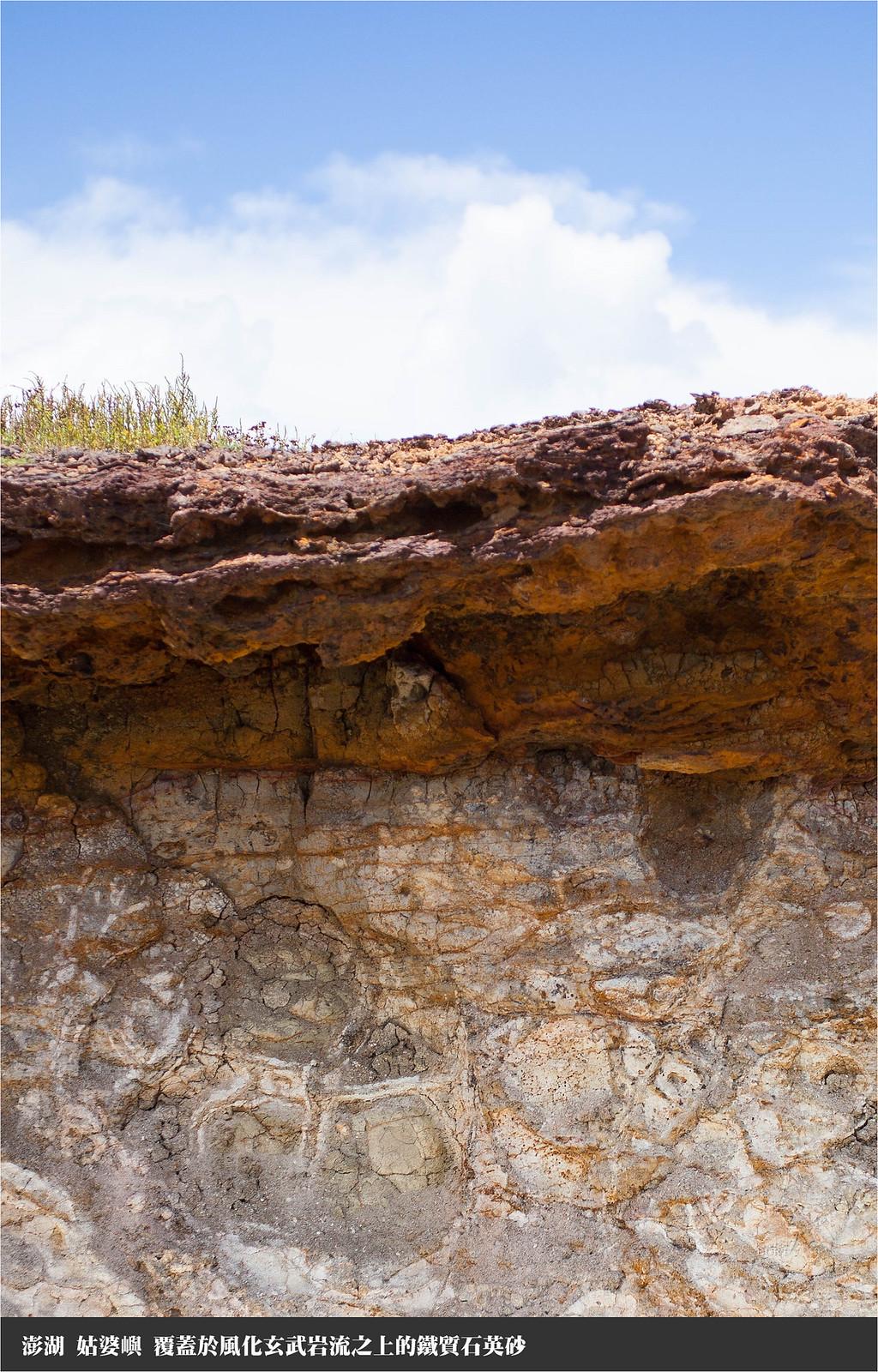 姑婆嶼 分布於風化玄武岩流之上的鐵質石英砂層