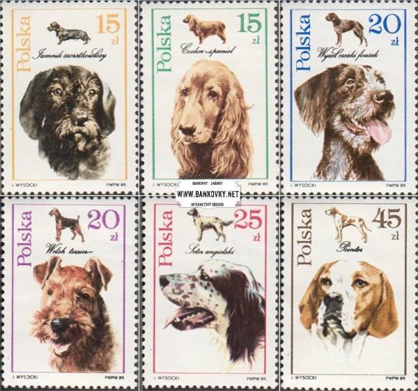 Známky Poľsko 1989 Psy, nerazítkovaná séria MNH