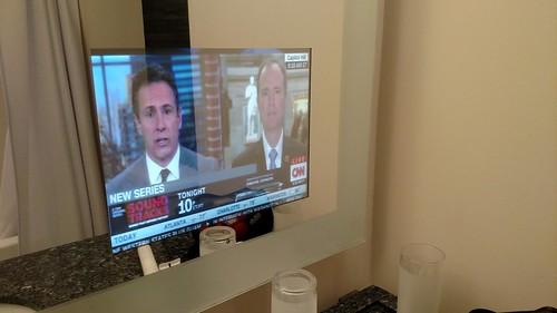 Renaissance Shaumburg Convention Hotel bathroom mirror TV