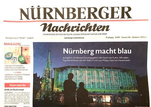 Cover Nürnberg Nachrichten into the blue Philipp Geist #intotheblue #hauptmarkt #blauenacht #philippgeist