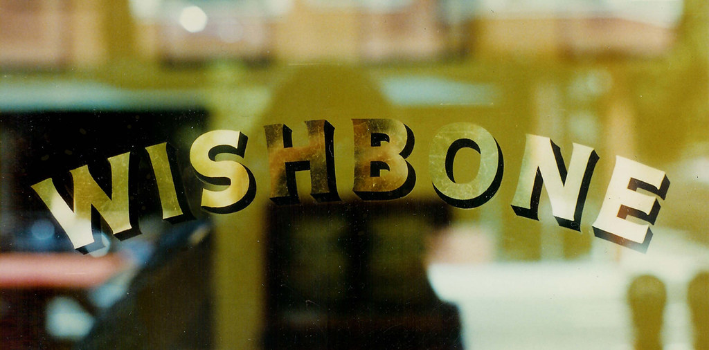 Wishbone Gold Leaf Lettering On Glass Before Founding