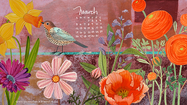 March 2017 desktop calendar