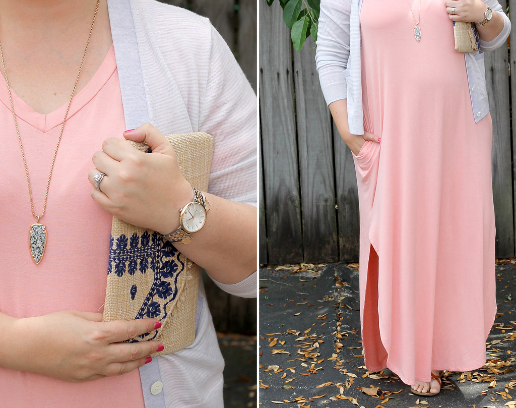 pink oversized maxi, gray stripe cardigan 1