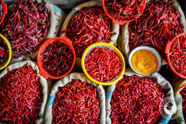 Indian Spices at Khari Bhaoli Spice Market Delhi India