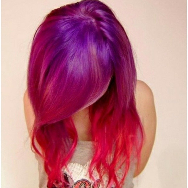Purple To Red Ombre Ha...