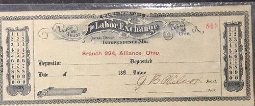 Labor Exchange check Alliance, Ohio front