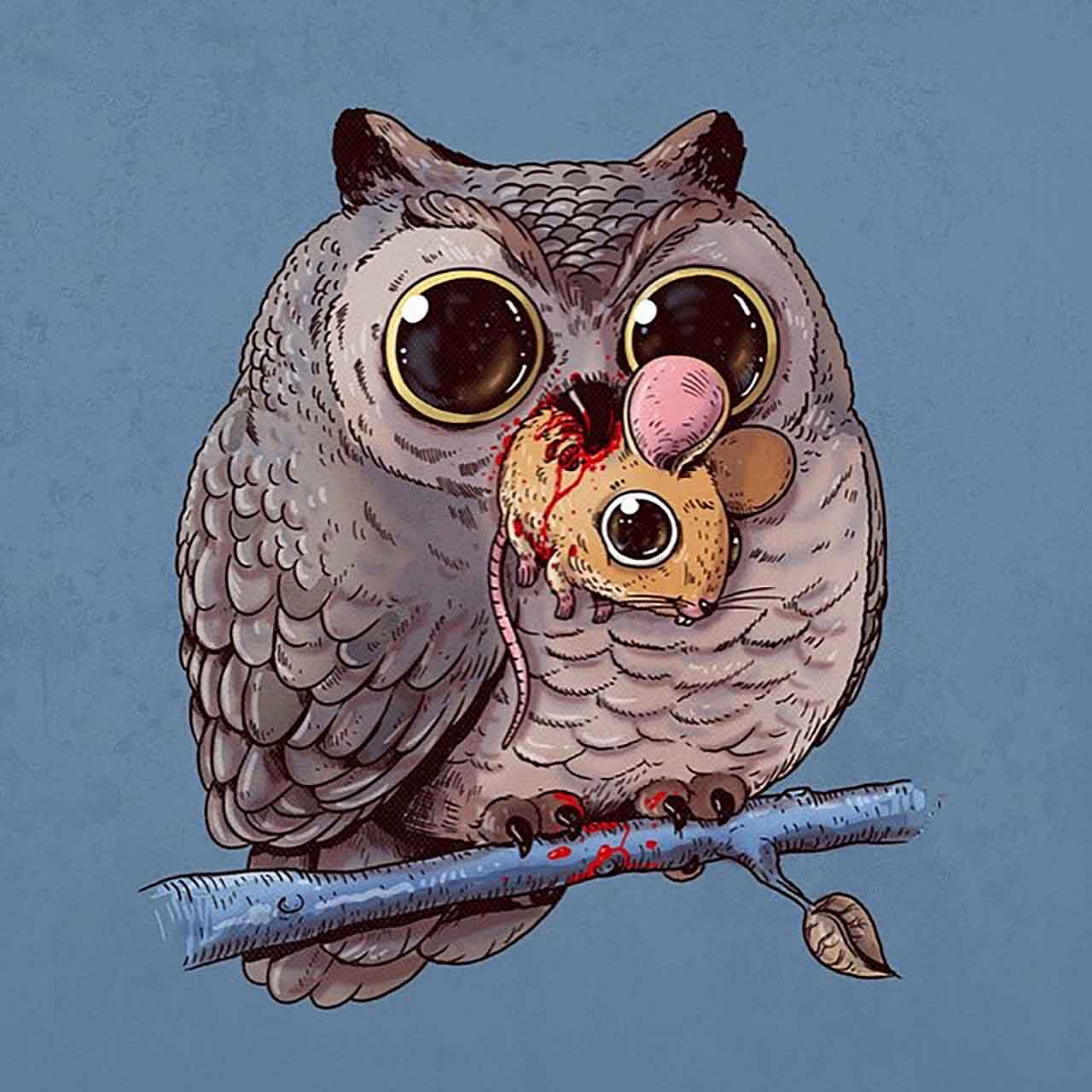 "Artist Creates Extremely Adorable ""Predator & Prey"" Illustrations #16: Owl & Mouse"