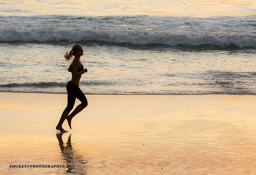 Girl running at sunset. Nai Harn beach, Phuket, Thailand           XOKA5926s | by Phuketian.S