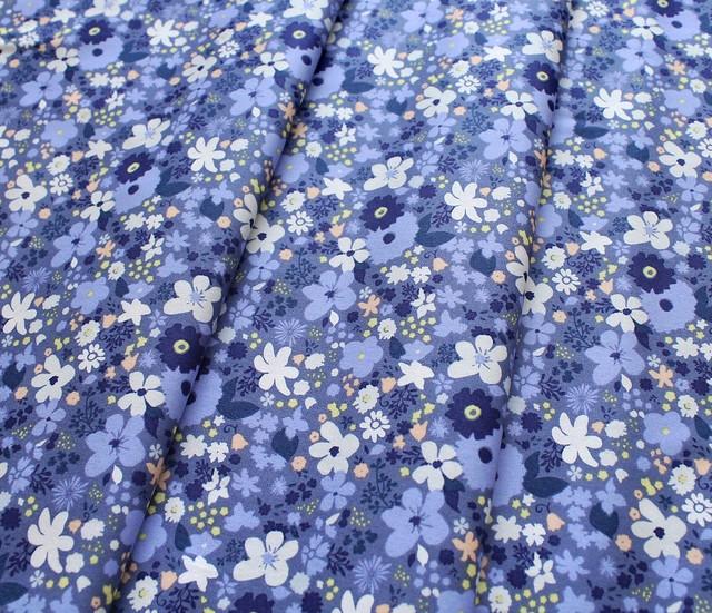 Art Gallery Fabrics Chic Flora Vintage Rush Bleu