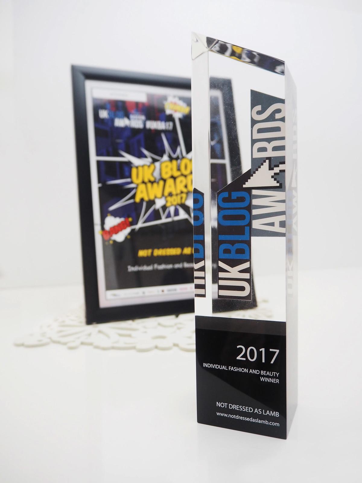 UK Blog Awards Individual Fashion & Beauty Winner 2017 trophy, Not Dressed As Lamb