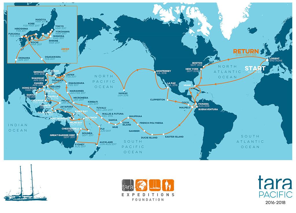 Tara探險船太平洋任務路線。資料來源:Tara探險船官網