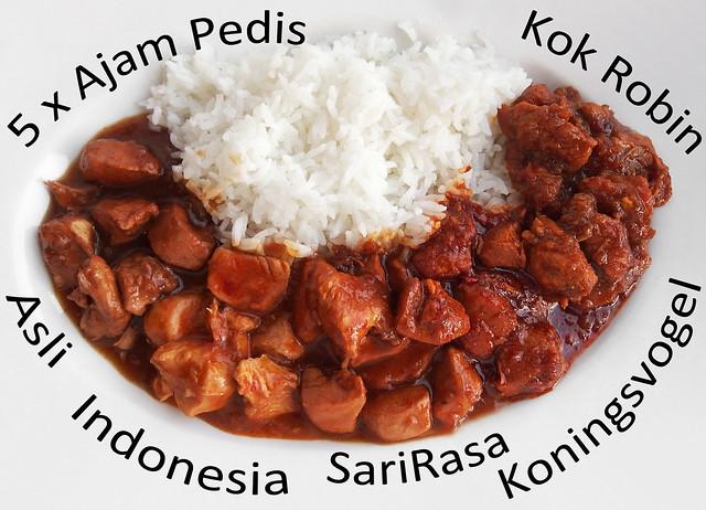 Ajam Pedis vergelijken Asli, Indonesia, SariRasa, Koningsvogel, Kok Robin