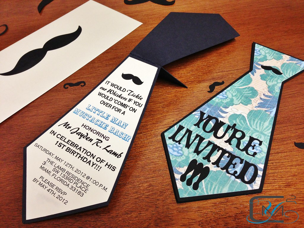 Tie shaped birthday invitation custom laser cut invitation flickr tie shaped birthday invitation by c2miami by yanet filmwisefo