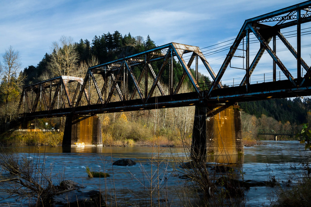 Troutdale Oregon Union Pacific Rail Road Bridge Over The