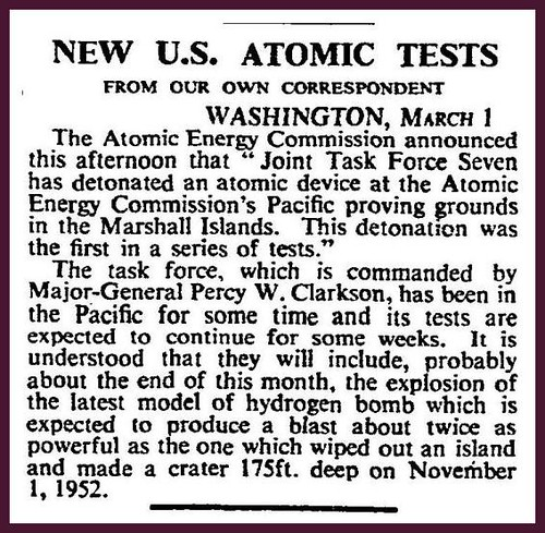 1st March 1954 - USA atomic bomb tests | by Bradford Timeline