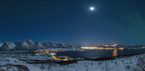 Winter scene from a mountain, looking at Sortland, Northern Norway. Photo Benny Høynes