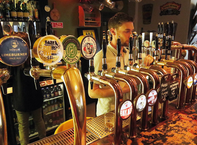 The 24 plus beer taps at The Black Sheep, a pub specializing in crafty beers and simple food in Dublin, Ireland